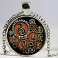 1 шт., кулон в стиле стимпанк с символикой рейки, стеклянный кабошон с фото, ожерелье