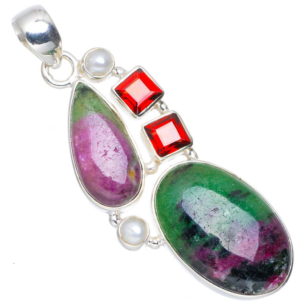 Natural Ruby Zoisite,River Pearl and Garnet Handmade Unique 925 Sterling Silver Pendant 2.25