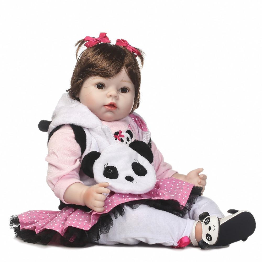 2017 NEW handmade reborn baby doll vinyl silicone touch with cute Panda bags beautiful toys for kids on Birthday and Christmas very cute hair style reborn doll vinyl silicone soft real touch doll beautiful gift for kis on birthday and christmas