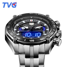 2016 Brand TVG Men Sports Watch Full Stainless Steel Waterproof Male Analog Digital Dual Display Wristwatches relogio masculino