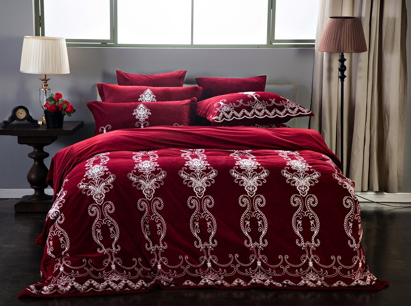 Wine Red Purple Blue Luxury Printing Fleece fabric Bedding Set Winter Thick Duvet Cover Bed Linen Bed sheet Pillowcases 4/6pcs