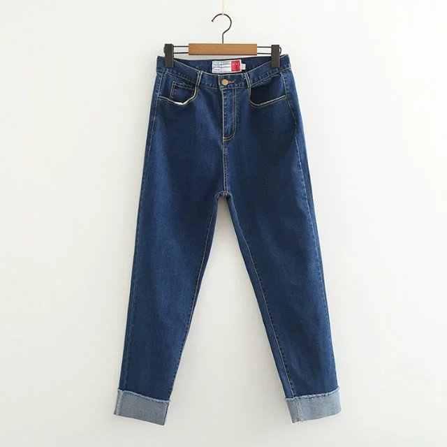 2018 Новый Для женщин джинсы манжеты прямые джинсовые брюки Высокая Талия молния Женский Повседневное брюки Cpris темно-синий с нашитыми буквами