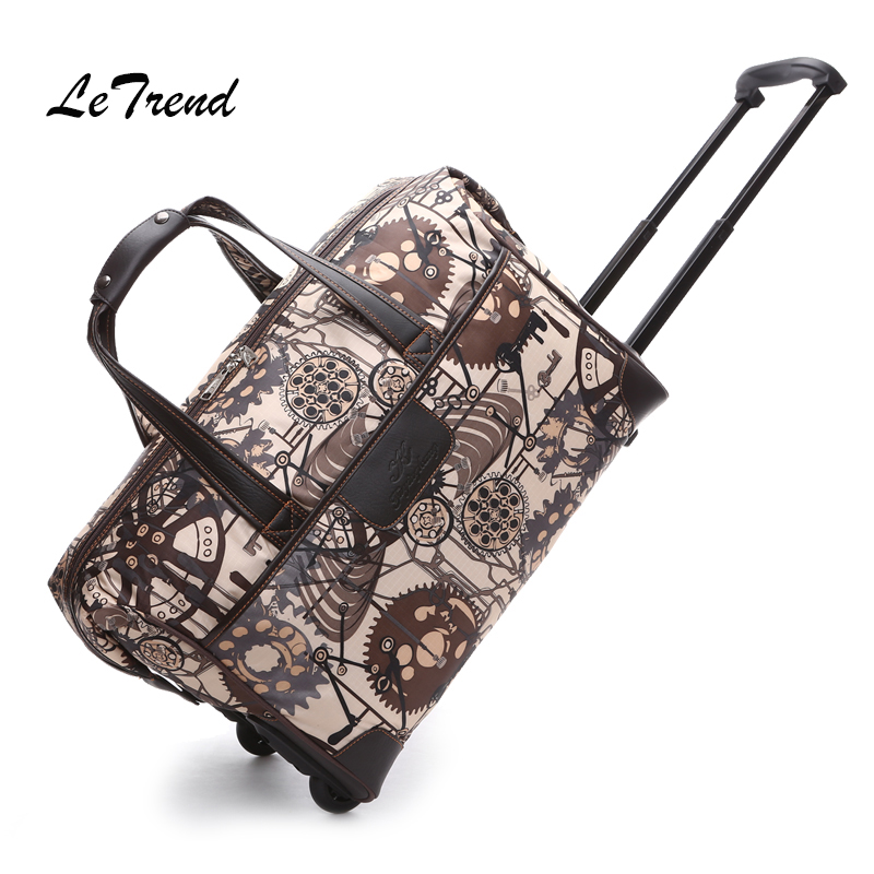 LeTrend Rolling Luggage Men Oxford Travel bag Women large capacity Trolley Suitcase Wheels Business Carry On Women's Handbag universal uheels trolley travel suitcase double shoulder backpack bag with rolling multilayer school bag commercial luggage