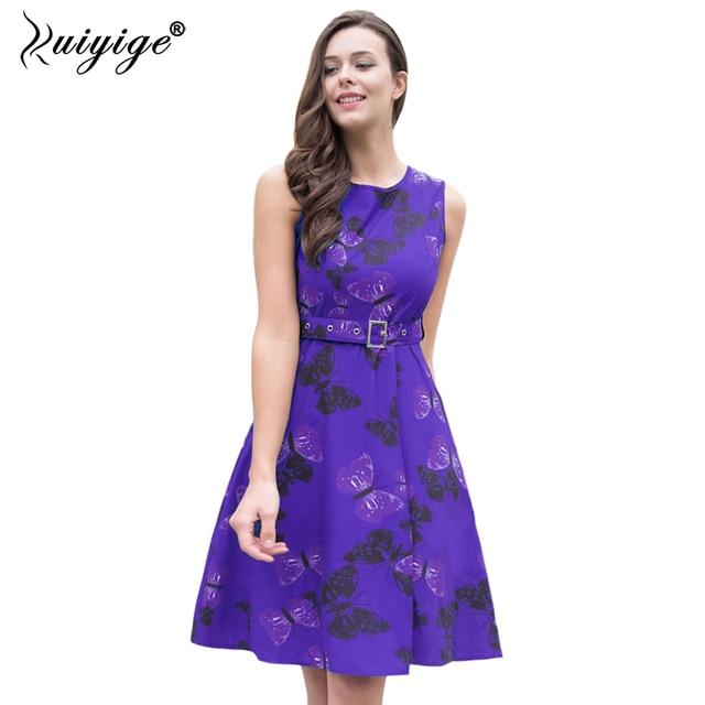 RUIYIGE 2018 Fashion Sashes Empire Print Floral Dress High Waist O-Neck Knee Length Boho Robe Casual Ball Gown Summer Vestidos