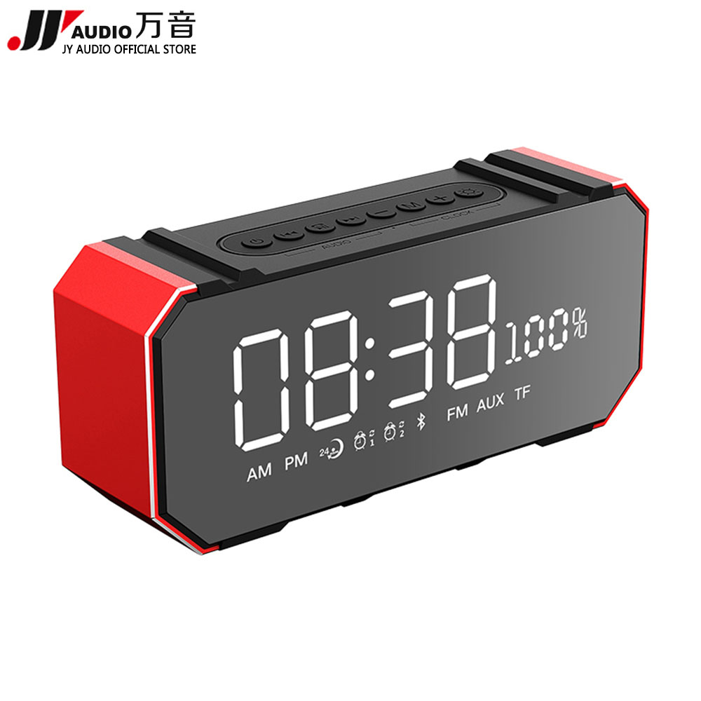 JY AUDIO F1 Portable Led Bluetooth Speaker Radio FM Alarm Clock Radio with USB AUX TF MIC Computer Wireless Bleutooth Speakers