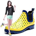2017 New Design Women Fashion Short Rainboots Female Fashon Printing Water Shoes Winter Thermal Rubber Boots