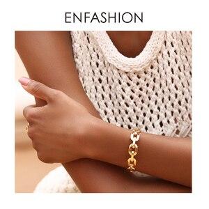 Image 5 - Enfashion Zuivere Vorm Medium Link Chain Manchet Armbanden & Armbanden Voor Vrouwen Goud Kleur Mode sieraden Sieraden Pulseiras BF182033