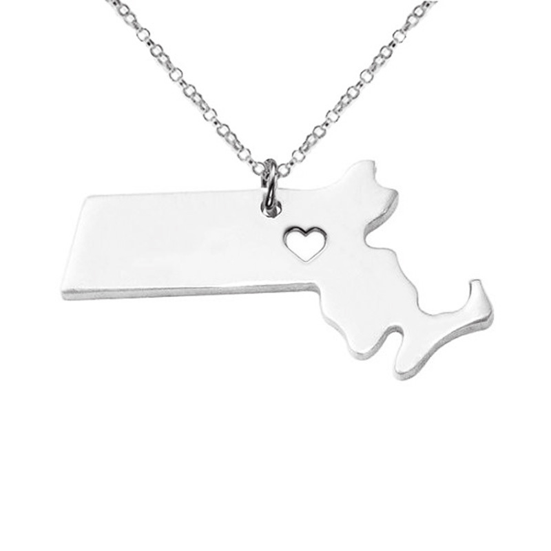 5PCS Massachusett Necklace 316L Stainless Steel American State With Hollow Heart map Necklace Statement Pendant Jewelry 3 Colors