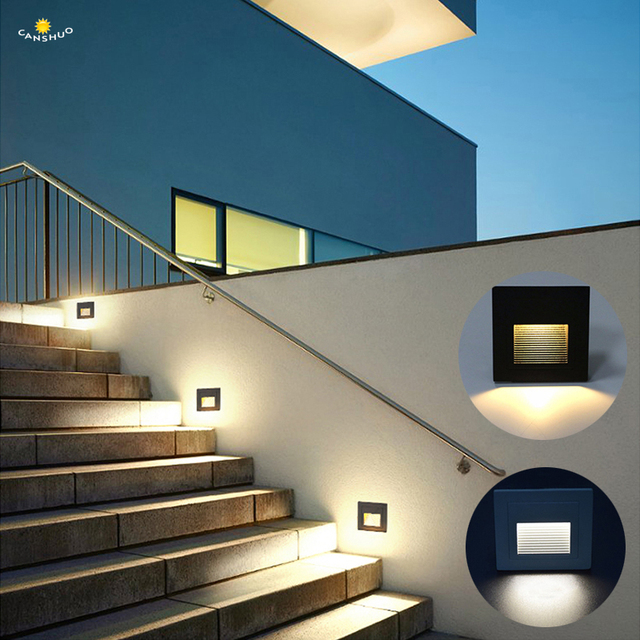 Outdoor Led Step Stair Lights Ip65 Waterproof Wall Lamps Landscape Pathway Floor Villa Lighting With 86 Mounting Box