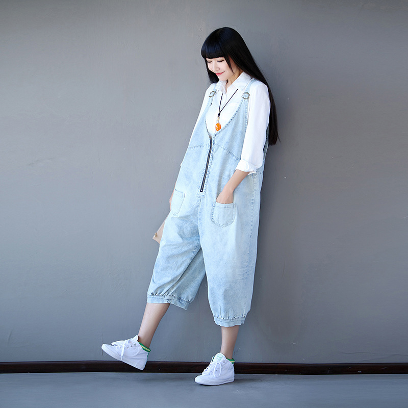 Womens Loose Zipper Calf Length Denim Bib Overalls Vintage Fashion Harem Jeans Jumpsuits Boyfriend Hip Hop Baggy Pants 043007 Women's Clothing Bottoms