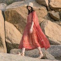 IRINAW068 Новое поступление Лето 2018 оригинальный дизайн женская повседневная oversize длинные в горошек шелковое платье