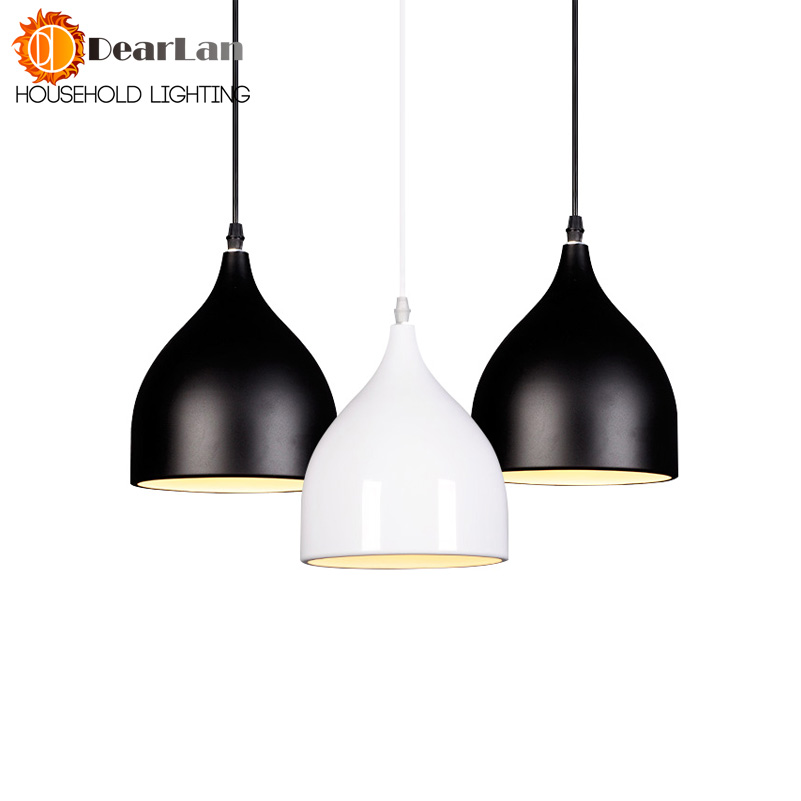 Modern Pendant Lighting White/ Black Kitchen Single-head 3 Head Pendant Lighting Aluminum Adjustable Cord Free Shipping(PD52) modern 3 color adjustable triangle