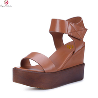 Supper Elegant Women Sandals High Quality Soft Leather Black Brown Shoes Woman US Size 4 8