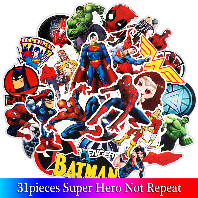 31PCS Super Hero Stickers Movies Character Sticker For DIY Luggage Laptop Skateboard Motorcycle Pattern Sticker chic quality diy colorful fish pattern removeable wall stickers