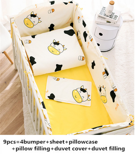 Promotion! 6/9PCS Cute Cow cotton baby cot bedding set for boys girls baby bed bumpers baby cot set baby blanket whole set