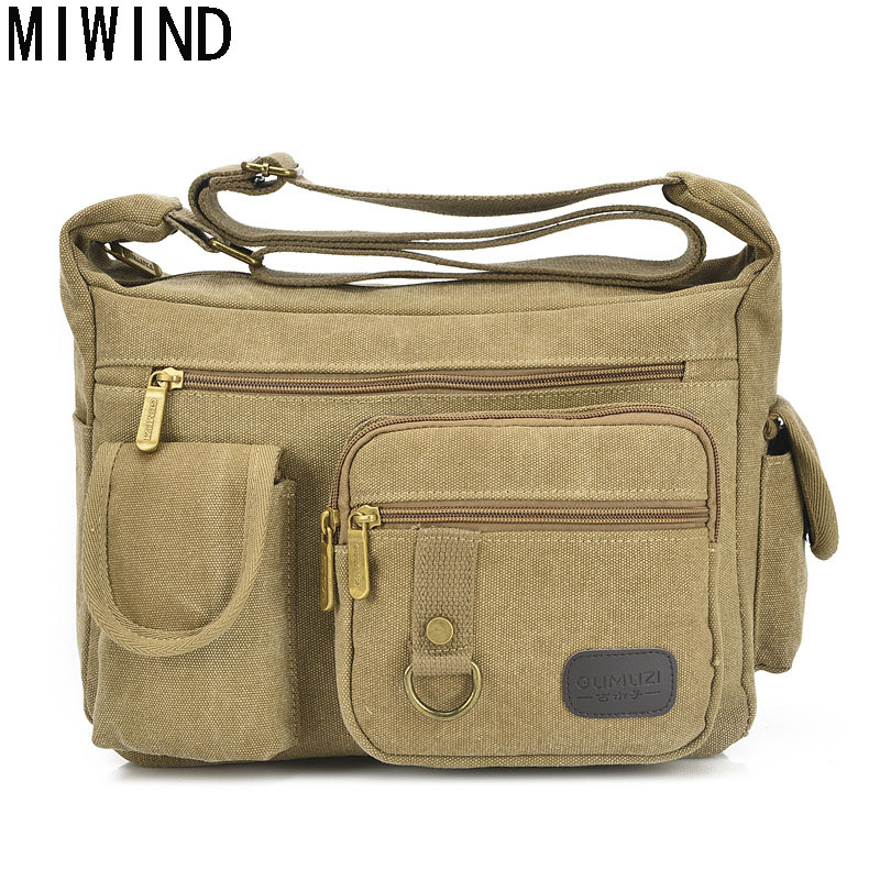 MIWIND Crossbody bag New Multifunction Men bag Retro handbags Women Canvas Bags Shoulder Luxury Messenger Bags TPJ1192 unisex retro new 2015 canvas leather women messenger bags men crossbody bag shoulder bag duffel bags weekend free shipping