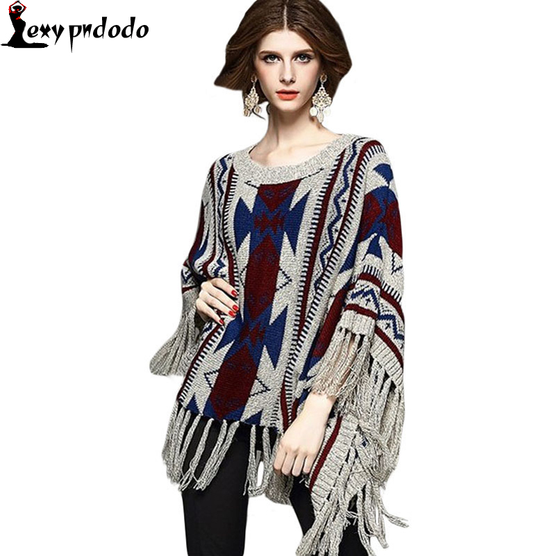 Vintage Geometric Print Fringed Poncho Sweater L27593 New Winter Women Batwing loose Pullover blouse Knitting Sweater Coat Shawl