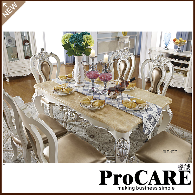 French Royal Style Wood Furniture Marble Dining Table Set For