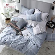 SlowDream Flat Sheet Duvet Cover Double Set Queen Bedding Set Bedspread Striped Bed Flat Sheet Pillowcases Decor Home Textiles недорого