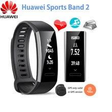 """Original Huawei Banda Esportes 2 Inteligente Pulseira Liga Swimmable 5ATM 0.91 """"Touchpad Tela OLED Monitor de Freqüência Cardíaca Empurre Mensagem"""