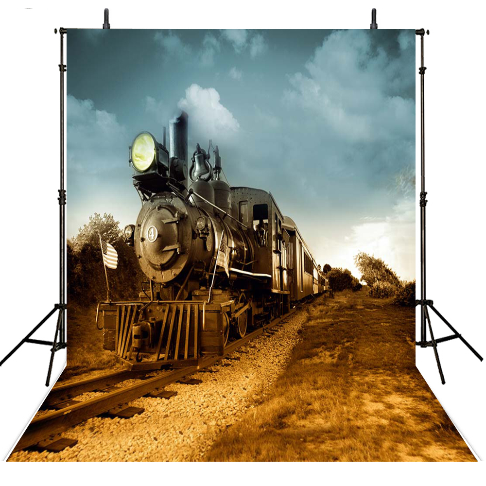Train Track Photography Backdrops Scenic Vinyl Backdrop For Photography Kids Background For Photo Studio Foto Achtergrond retro background christmas photo props photography screen backdrops for children vinyl 7x5ft or 5x3ft christmas033