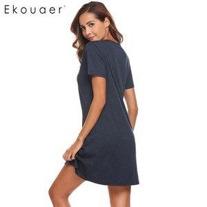 Image 5 - Ekouaer Women Casual Night Dress Sleepwear Cotton V Neck Short Sleeve Solid Nightgown Lounge Dress Female Night Sleeping Dress
