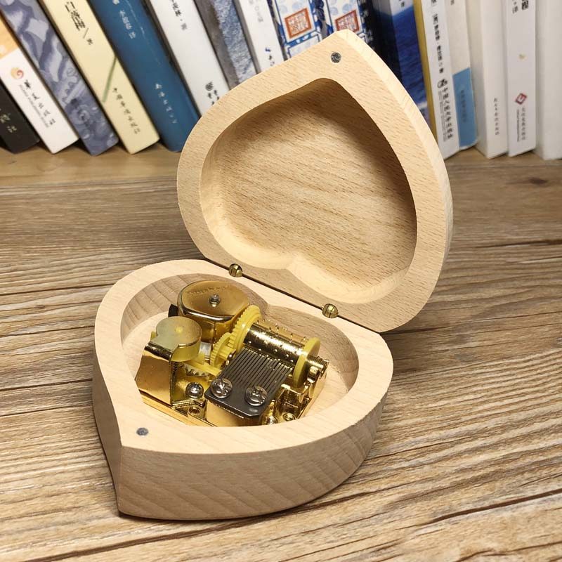 Handmade wind up heart music box wooden custom engraved music box personalized gift free shipping in Music Boxes from Home Garden