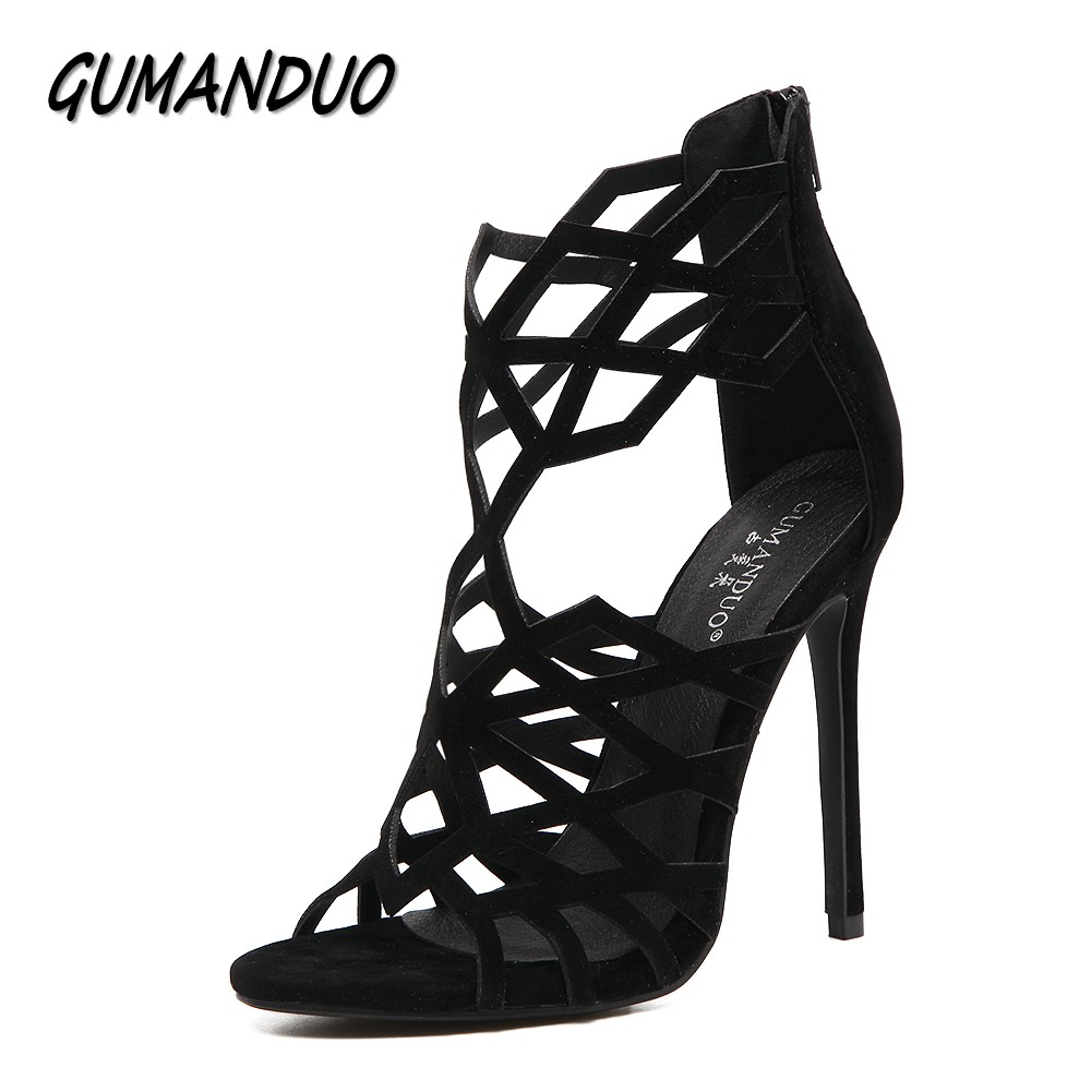 GUMANDUO New sexy women pumps gladiator high heels sandals shoes woman peep toe sexy cut-outs party wedding stilettos shoes fashion buttons rivet studs high heels designer gladiator sandals red black women pumps party dress sexy wedding shoes woman