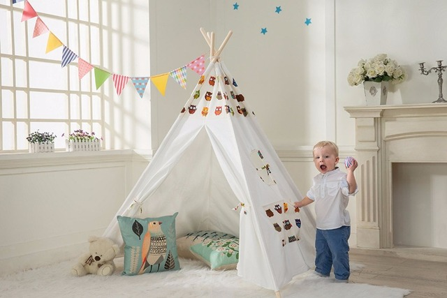 Indian Tipi Tent Cartoon Owl Children Play Tent Kids Teepee Tent White One Window Children Playhouse : tipi tent kids - memphite.com