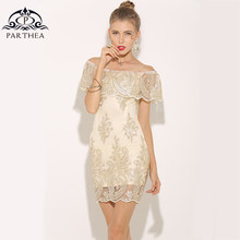 Parthea Elegant Summer Dress 2018 Metallic Embroidered Lace Dress Sexy  Women Party Dresses Ladies Mini Bodycon Dress Vestidos a04581954265
