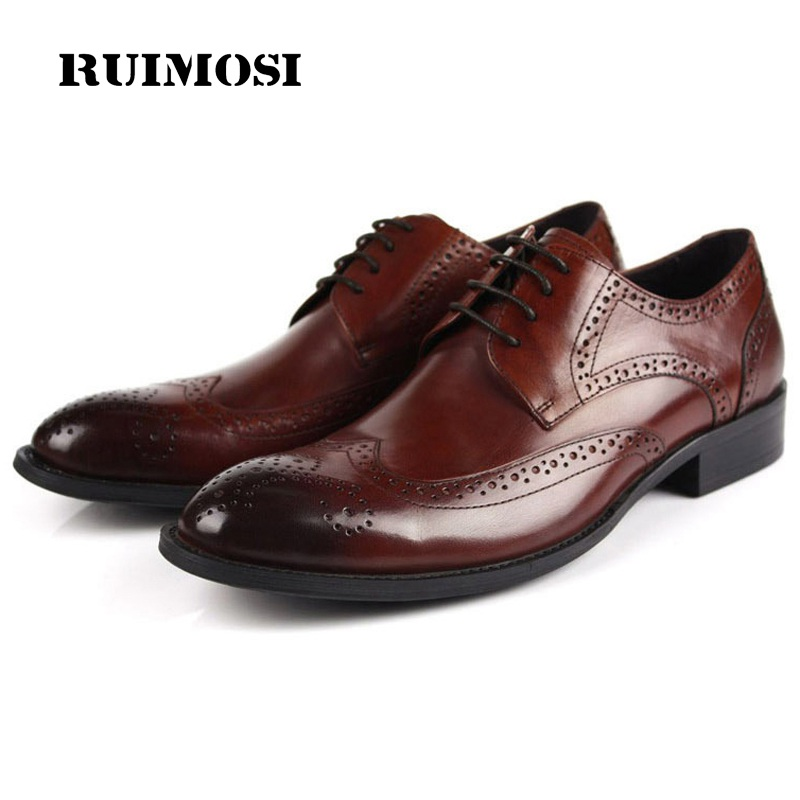 RUIMOSI Breathable Designer Brand Man Formal Dress Shoes Vintage Genuine Leather Cow Brogue Oxfords Men's Wing Tip Flats EH32