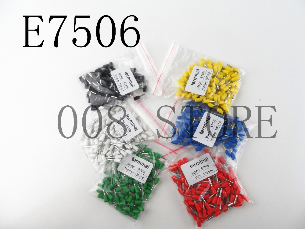 Free shipping 100pcs/Lot E7506 20 AWG 0.75mm2 Insulated Cord End Terminal Wire Ferrules VE7506 free shipping 100pcs lot pt2262s pt2262 sop20