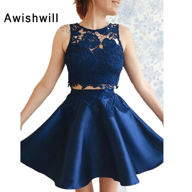 9bc1deac7d5 Fashion Navy Blue Homecoming Dress Two Piece Lace Satin A Line Short Prom  Dress Graduation Party Gown vestidos cortos de fiesta