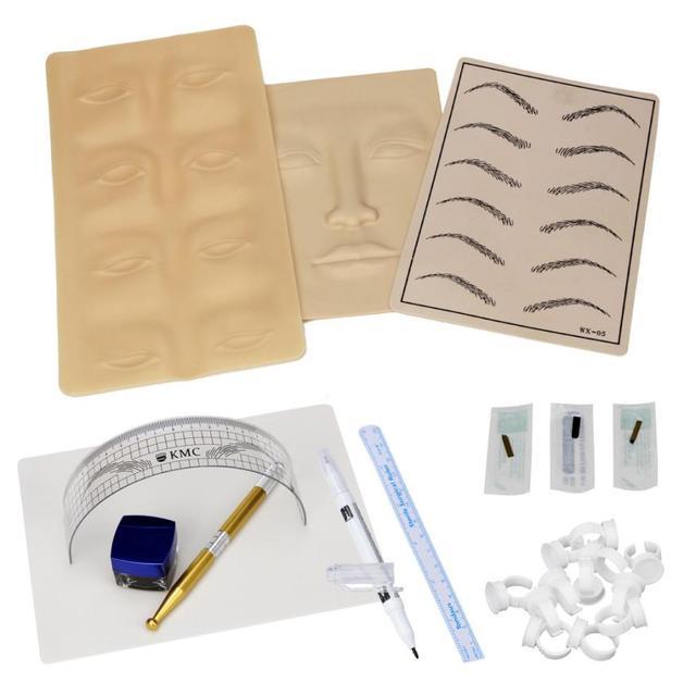 Реальнее Microblading Перманентный Макияж Бровей Татуировки kit Ручка Иглы Вставить Кожа Правитель 100% Brand new и высокое качество Энн
