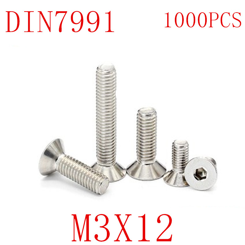 M3 Hex Countersunk Head Flat Screw 304 Stainless Steel Various Sizes DIN7991