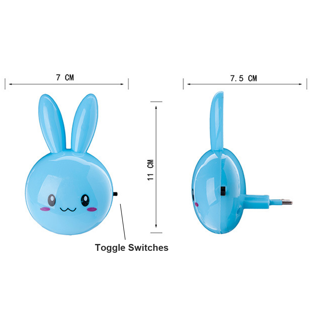 Image 4 - Cartoon Rabbit LED Night Light AC110 220V Switch Wall Night Lamp With US Plug Gifts For Kid/Baby/Children Bedroom Bedside Lamp-in Night Lights from Lights & Lighting