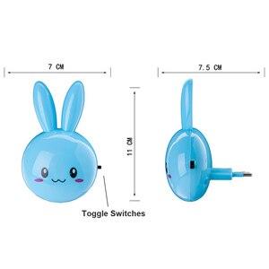 Image 4 - Dessin animé lapin LED veilleuse interrupteur de AC110 220V lampe de nuit murale avec nous Plug cadeaux pour enfant/bébé/enfants chambre lampe de chevet