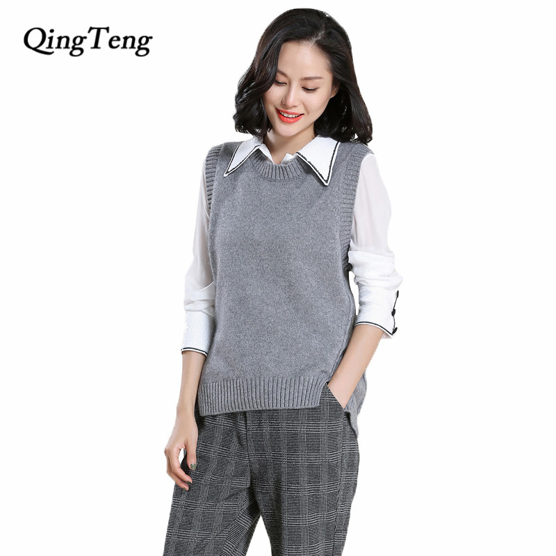 Qingteng Women Black Sweater Vest Ladies Knitted Thick -8699