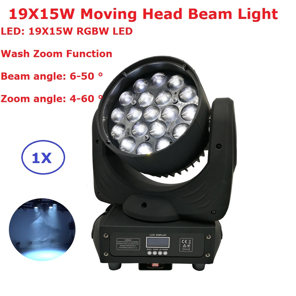Sales LED Moving Head Light Beam Wash Zoom 19X15W High Power RGBW Quad Color Mixing 16 DMX Channels Laser Dj DMX Stage Lights