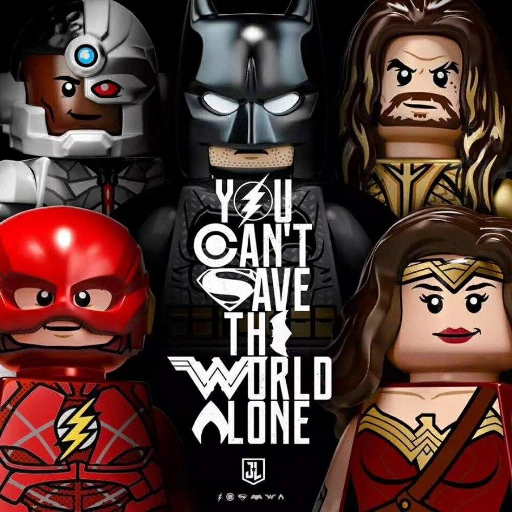 Decool 6pcs/lot 0282-0287 Justice League Batman Wonder Woman Superman Aquaman Building MiniMan movie Fit for Minifigure for Lego
