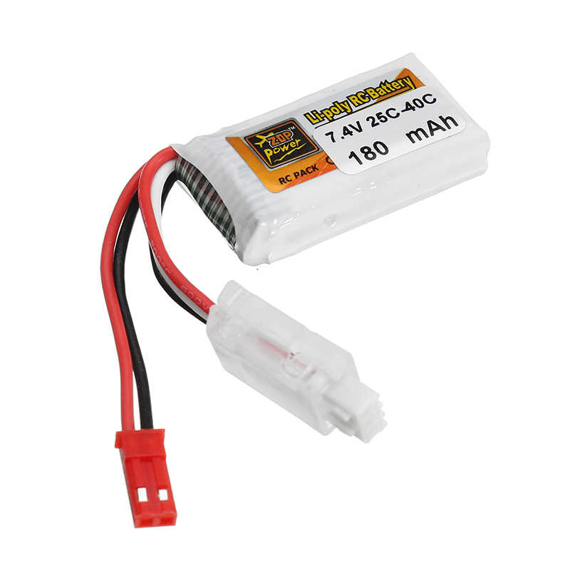 5 X ZOP Power 7.4V 180mAh 25C-40C 2S Lipo Battery White Plug for RC Models