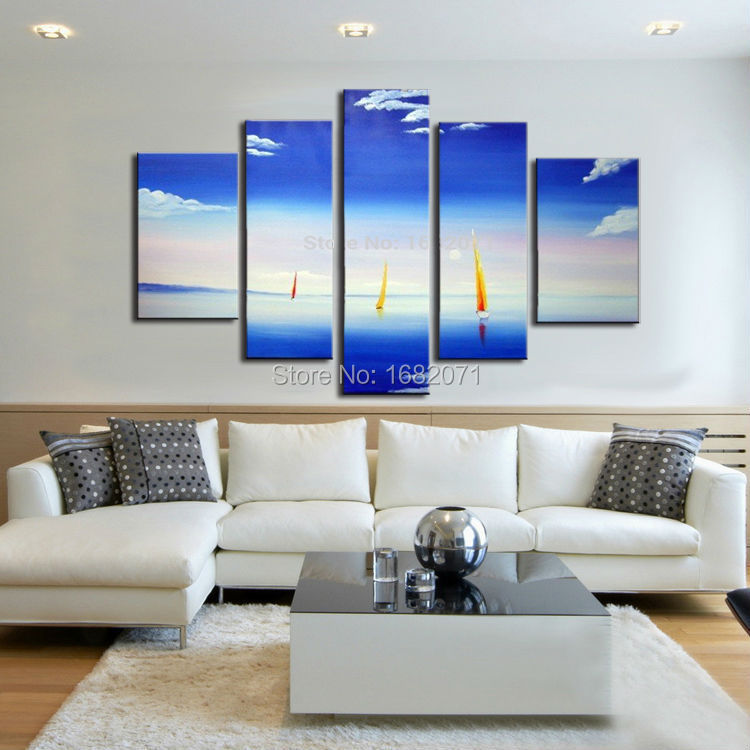 Top Artist Handmade High Quality Abstract Landscape Oil Painting on Canvas Beautiful Blue Sea Oil Painting for Living Room