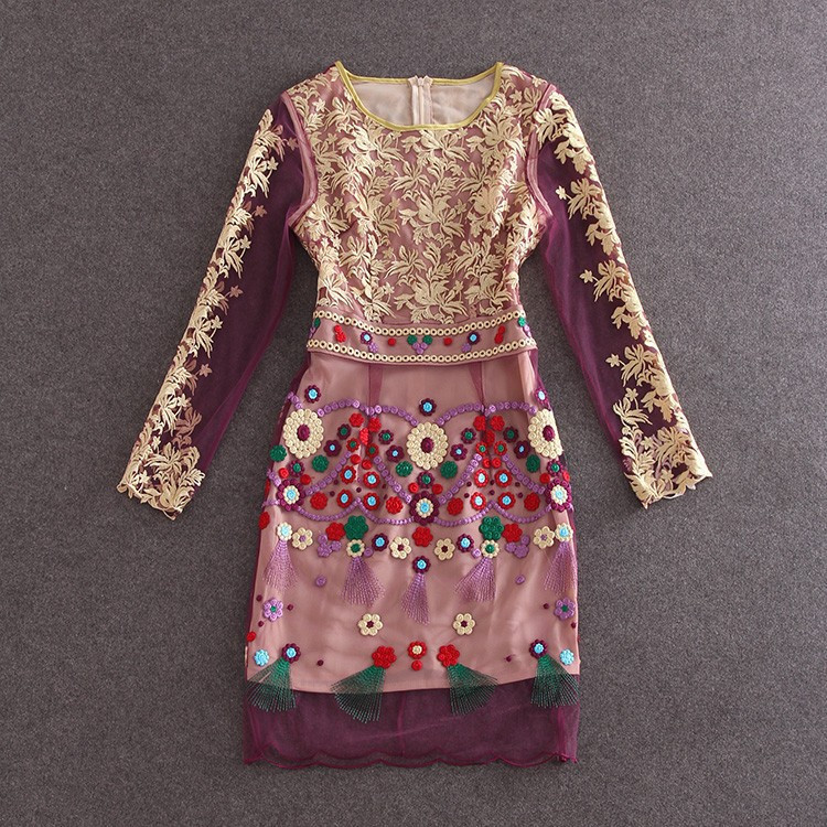 HIGH QUALITY S-XL New Fashion 2017 Women's Long Sleeve Gauze Gold Thread Luxury Embroidery Dress Autumn Dress 4
