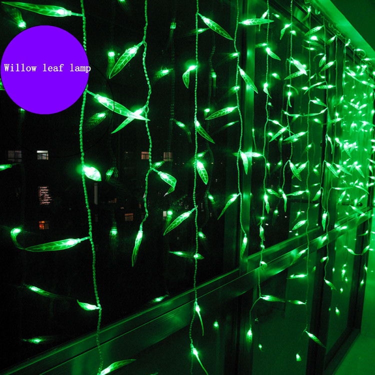 led lantern string lights holiday lights LED willow curtain lights 2 meters wide willow curtains ice lantern string,2M x 1M embroidered lantern sleeve wide hem top
