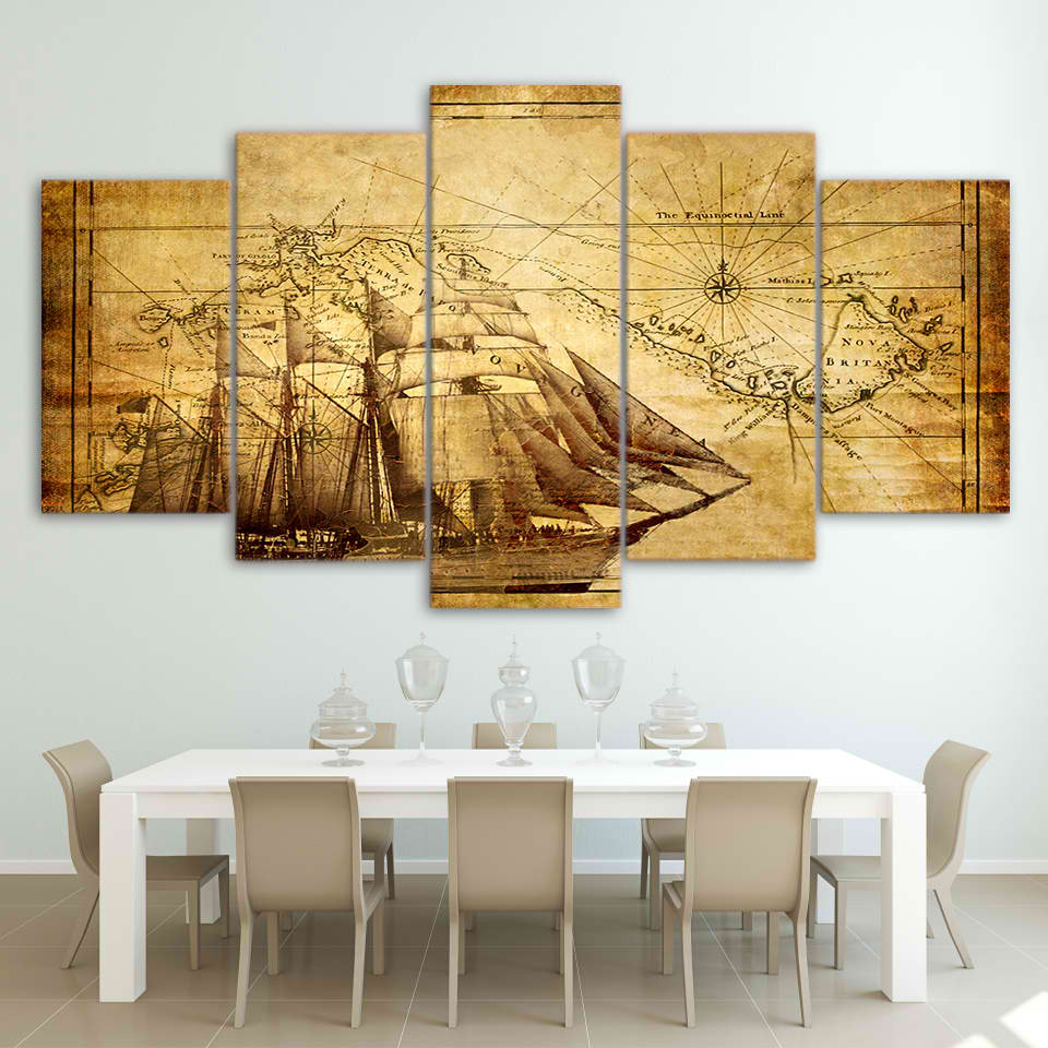 5 Pieces Scenery Wold Map Boat Modern Home Wall Decor Canvas Picture ...