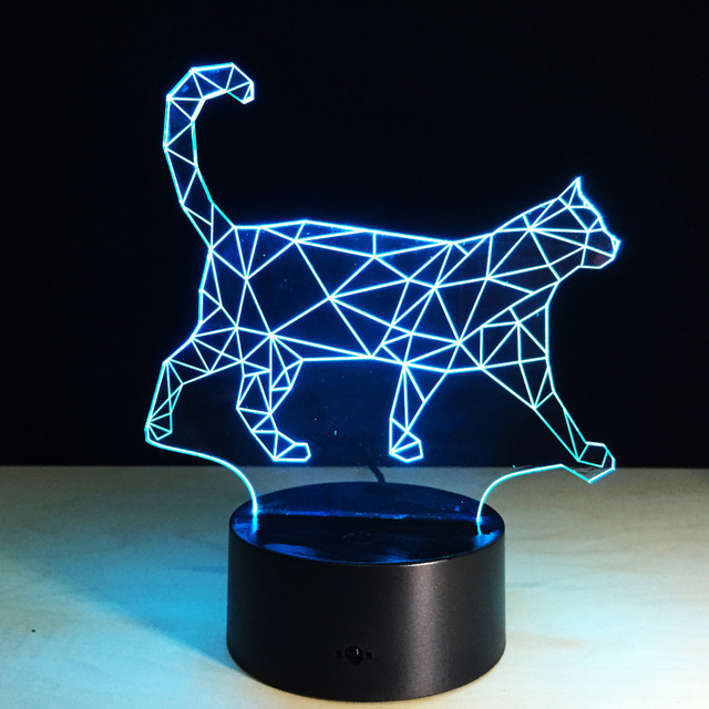 Cool Animal Light 3D Vision Walking Cat Night Light For Children Color  Changing Bedroom Mood Baby