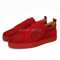 Shooegle Brand Luxury Glitter Nubuck Leather Man Shoes Casual Flats Low Top Rhinestone Sneakers Men Lace Up Rubber Shoes Zapatos