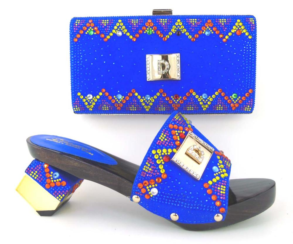ФОТО Free Shipping Blue African Rhinestone Shoes Woman Latest Women Shoes Meatching Bag Set For Party