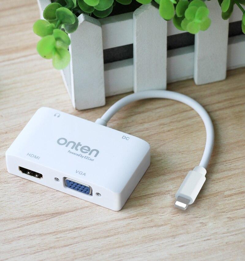 imágenes para 3in1 Video a HDMI TV VGA Monitor Proyector Altavoz Audio a HDMI TV Adaptador Del Convertidor Del VGA para el ipad para el iphone 5 5S 6 6 S 7 Más