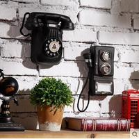 NEW American Creative Resin Retro Telephone Wall Stickers Murals Cafe Tea Shop 3D Wall Hangings Home wall decorations